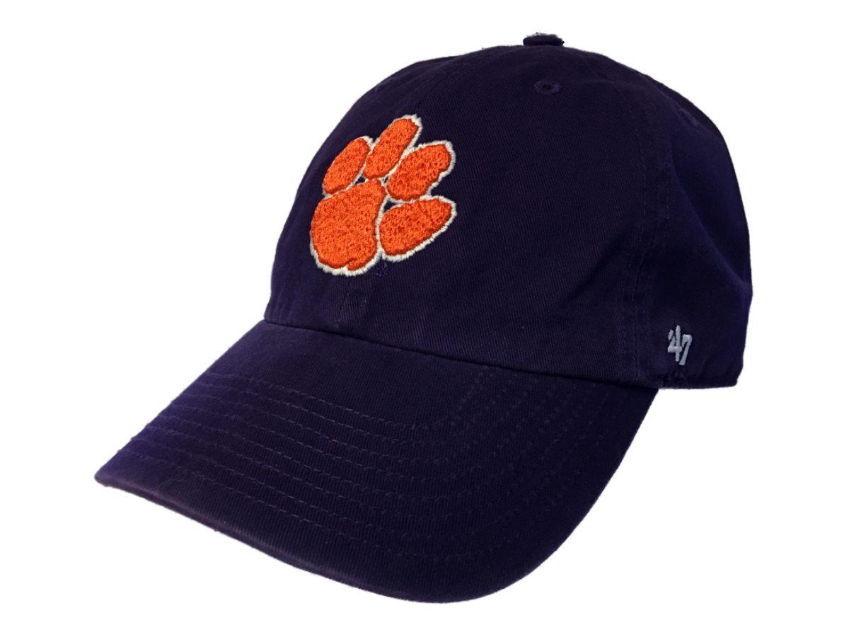 best website cbbae 54f24 Clemson Tigers 47 Brand Purple Clean Up Adjustable Strapback Slouch Hat Cap