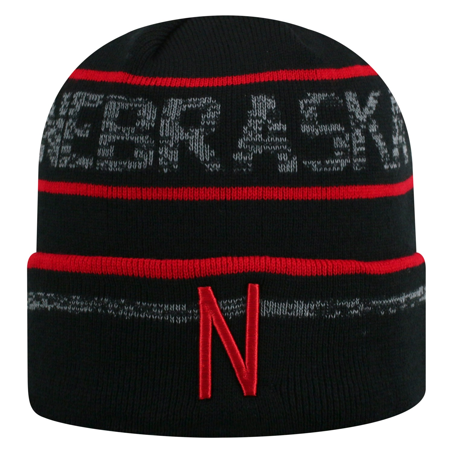 buy popular 72a04 2ff00 ... get details about nebraska cornhuskers tow black striped effect style  cuffed knit beanie cap 9ad56 1e5f6