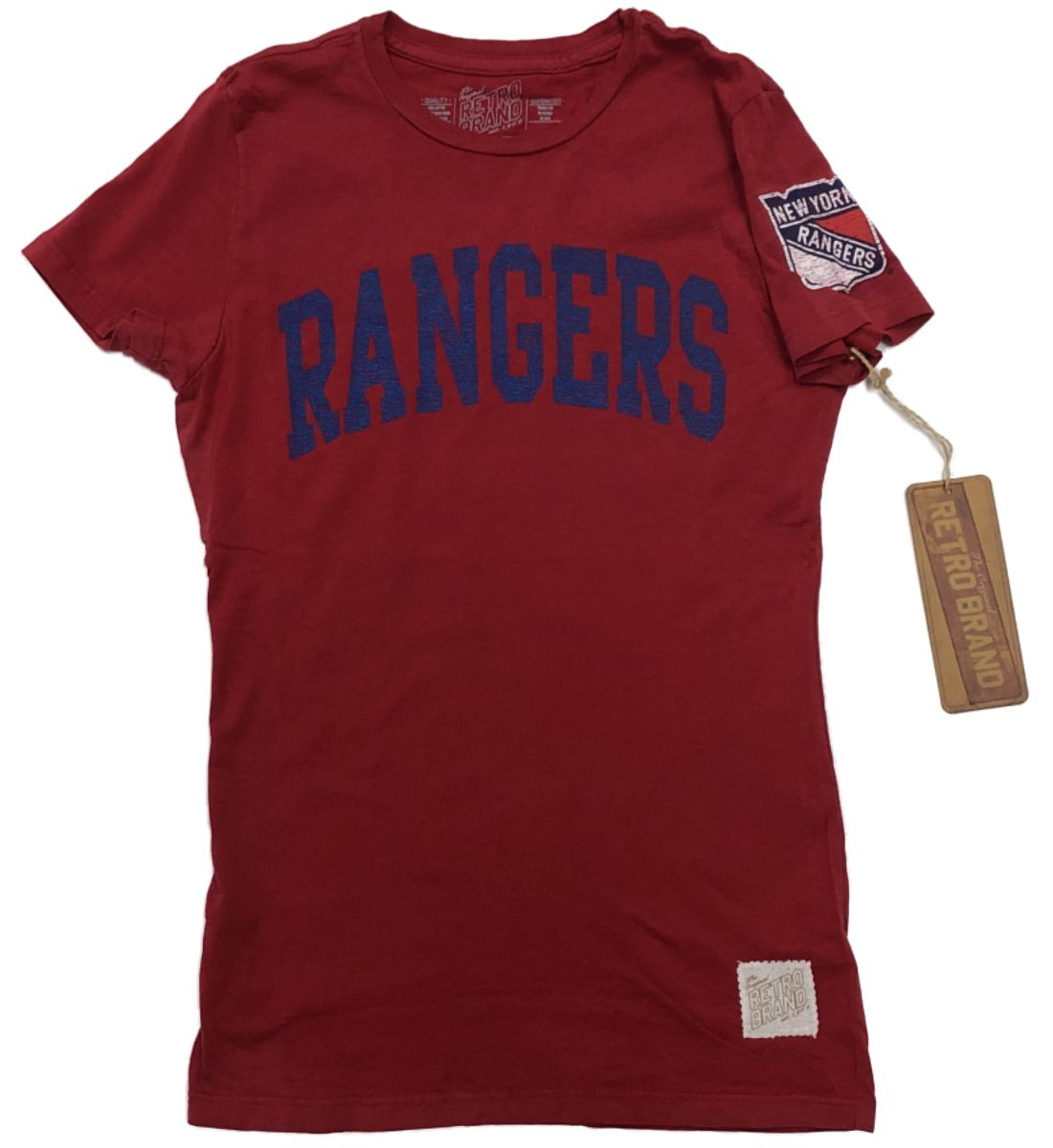 6641dca90 New York Rangers Retro Brand WOMEN Red Soft Cotton Capped Sleeve T-Shirt