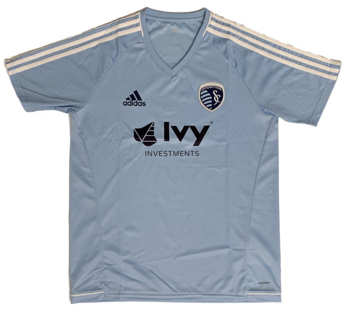 info for 7acf8 39162 Detalles acerca de Sporting KC Kansas City Mls Adidas Climacool Ss  Formación Jersey Luz Azul- mostrar título original