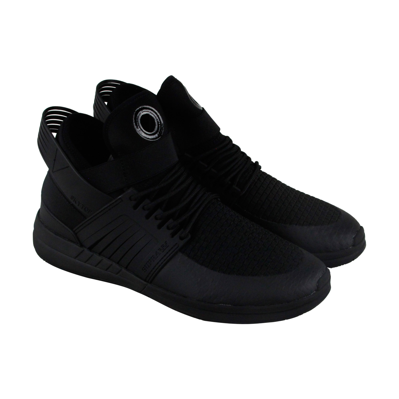 Supra Skytop V Mens Black Leather High Top Lace Up Sneakers Shoes