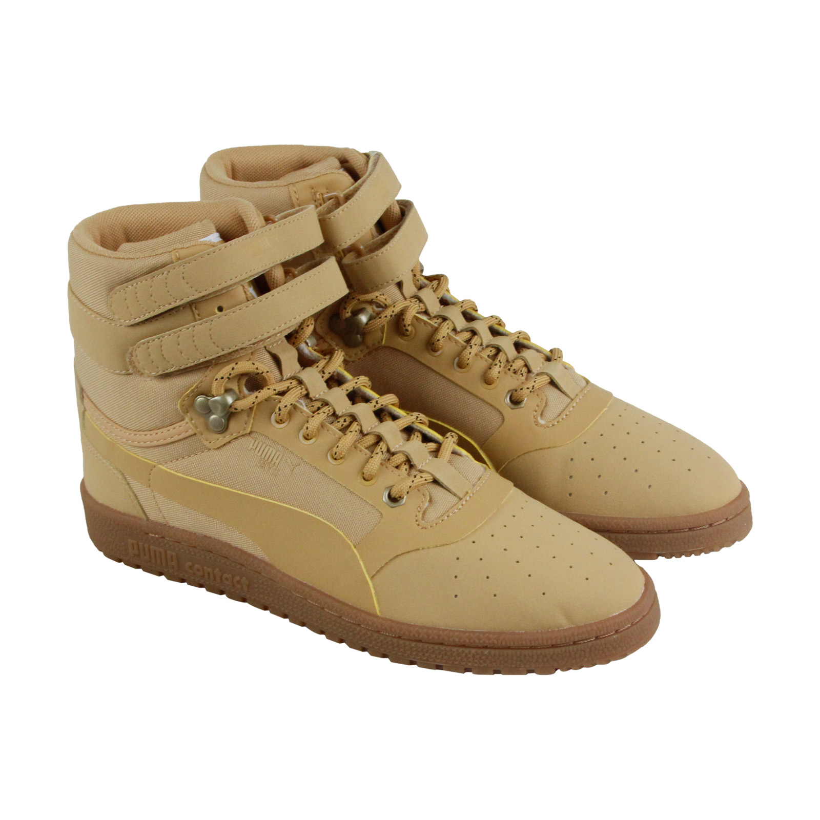 Puma Sky Ii Hi Mens Tan Leather High Top Lace Up Sneakers Shoes 8