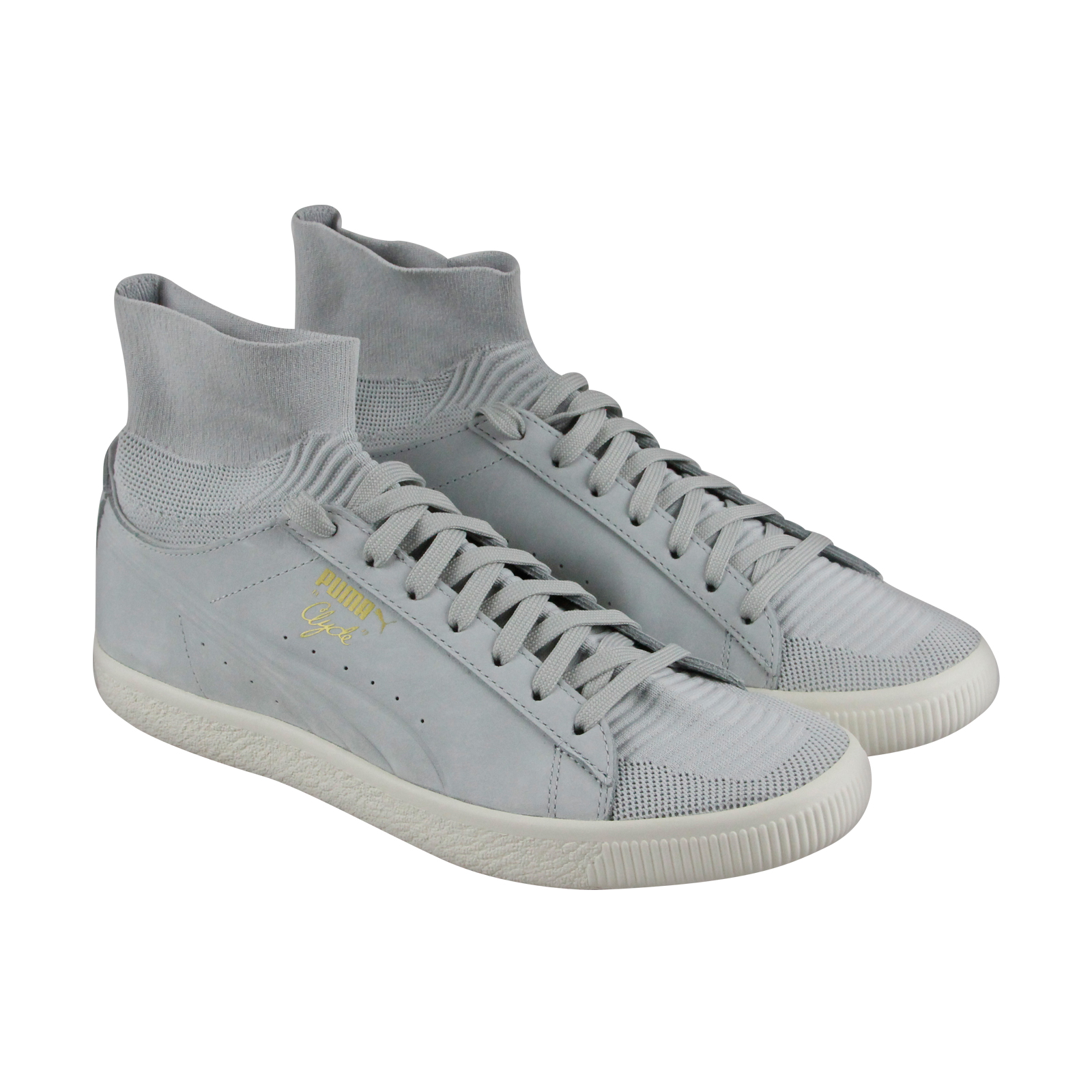 Puma Clyde Sock Select Mens Gray Leather & Textile Athletic Training Shoes