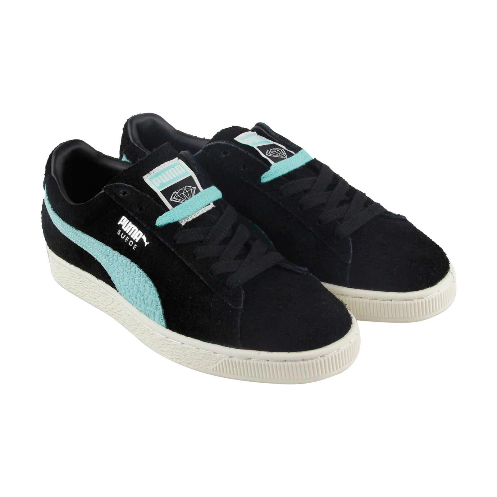 a4e01404a3 Puma X Diamond Suede Mens Black Suede Low Top Lace Up Sneakers Shoes