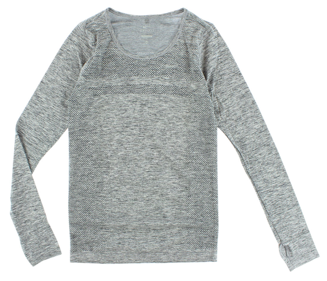 nike womens dri fit knit long sleeve grey xs ebay. Black Bedroom Furniture Sets. Home Design Ideas