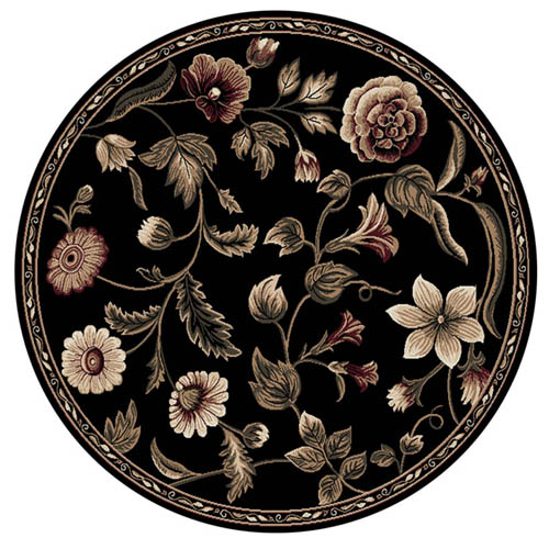 Oriental Floral Black Area Rug 8x8 Persian Round 029