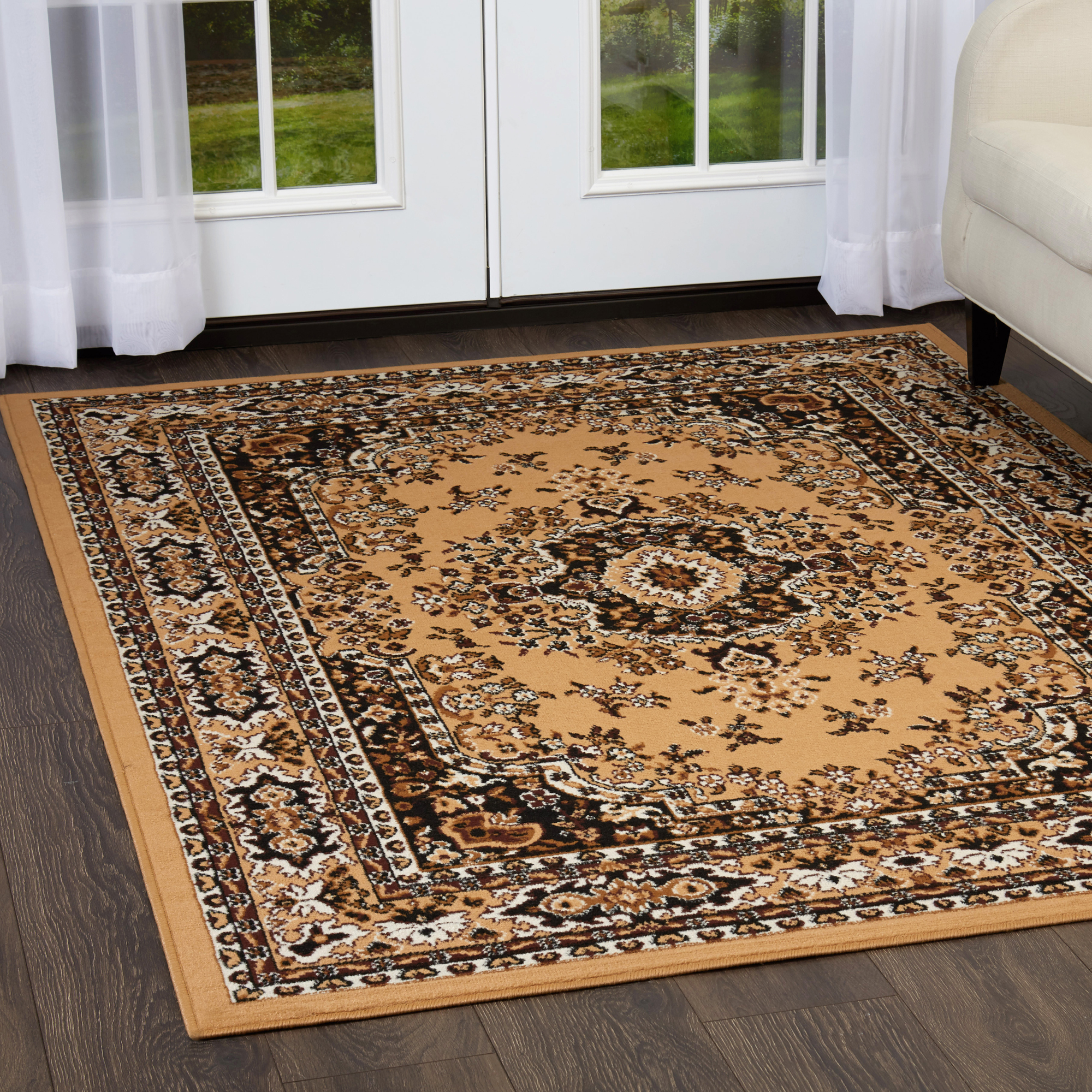 Traditional Medallion Beige Persian 3 Pcs Area Rug