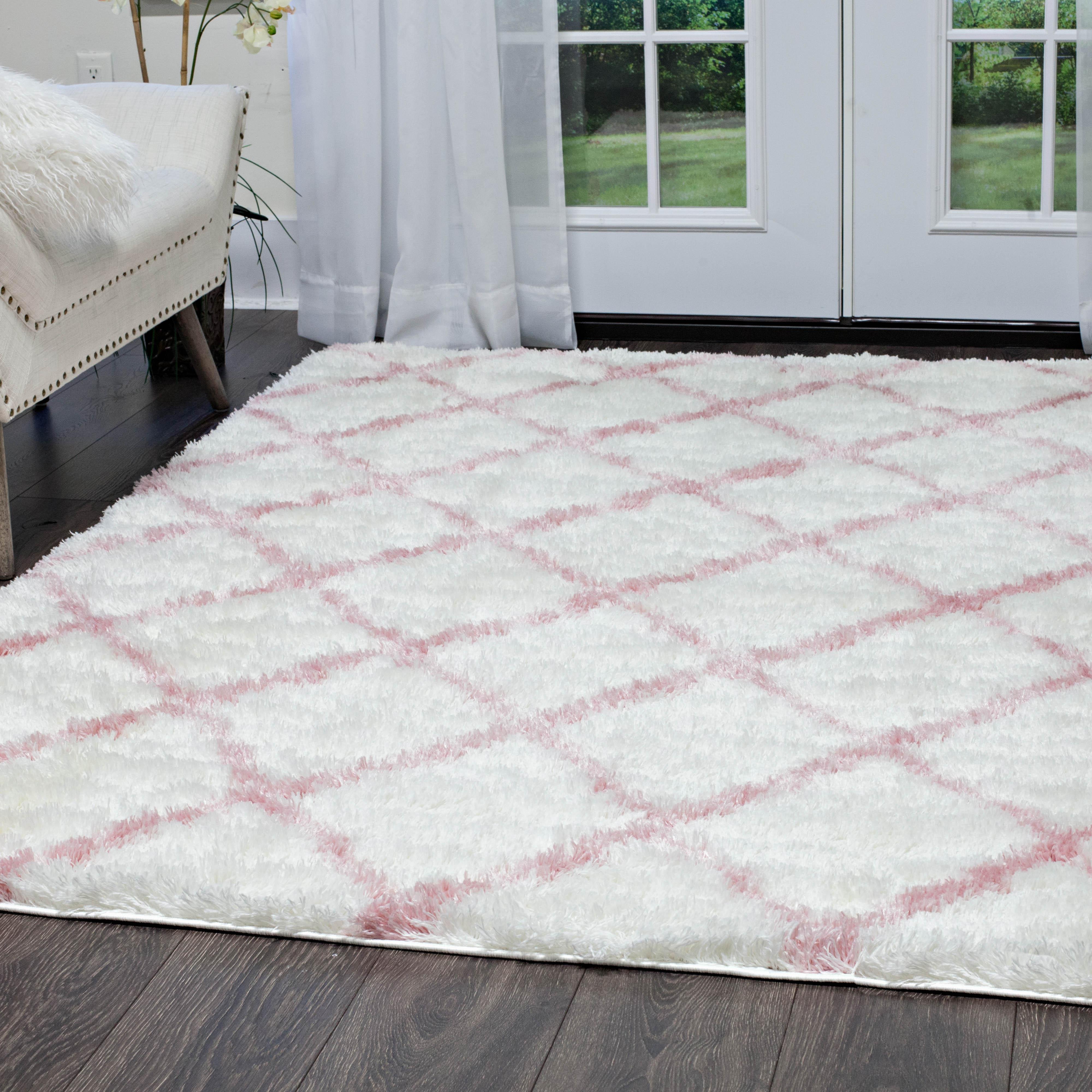 Rugs Area Shag Rug Modern Moroccan Trellis Lattice Floor
