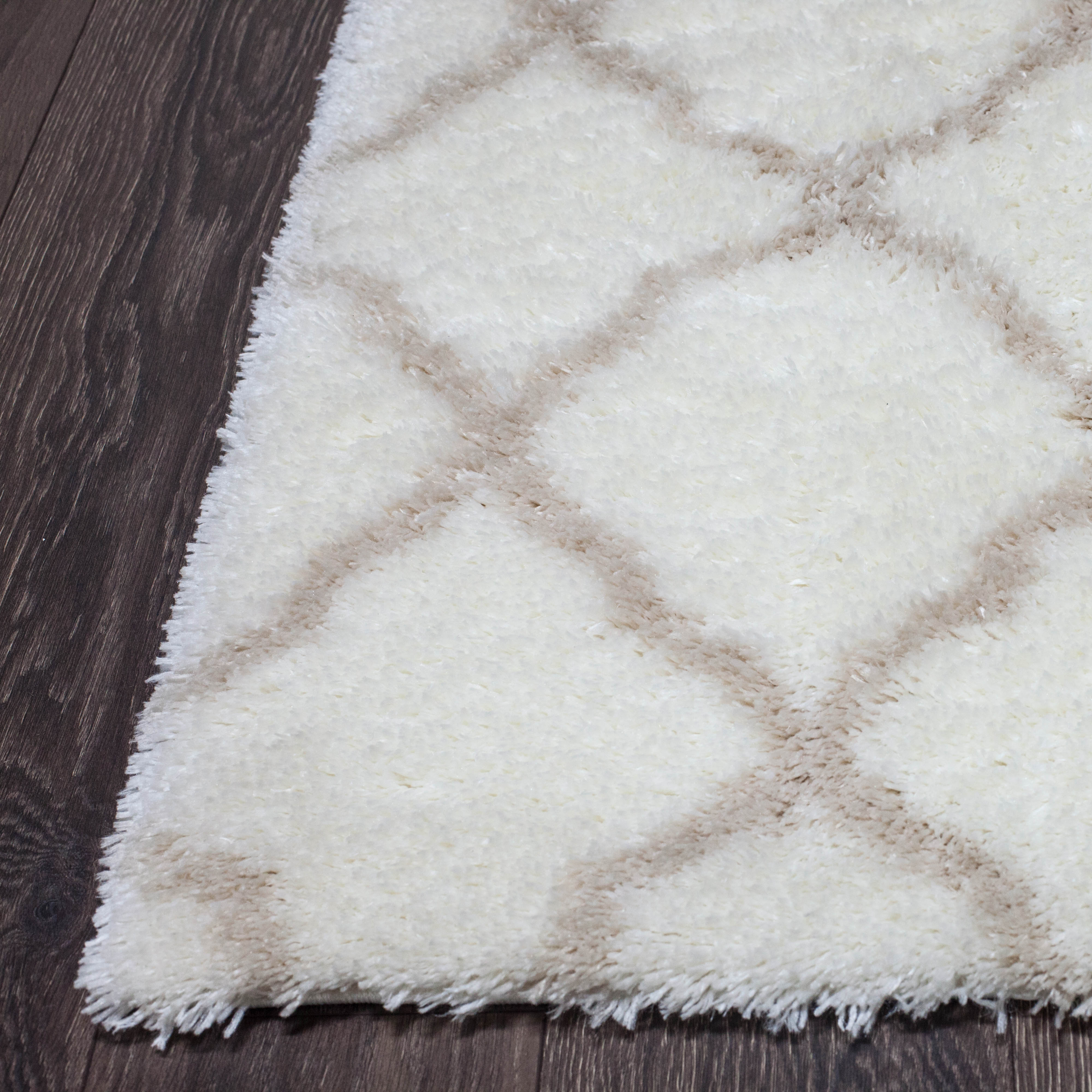 Rugs Area Shag Rug Modern Moroccan Trellis Lattice Floor