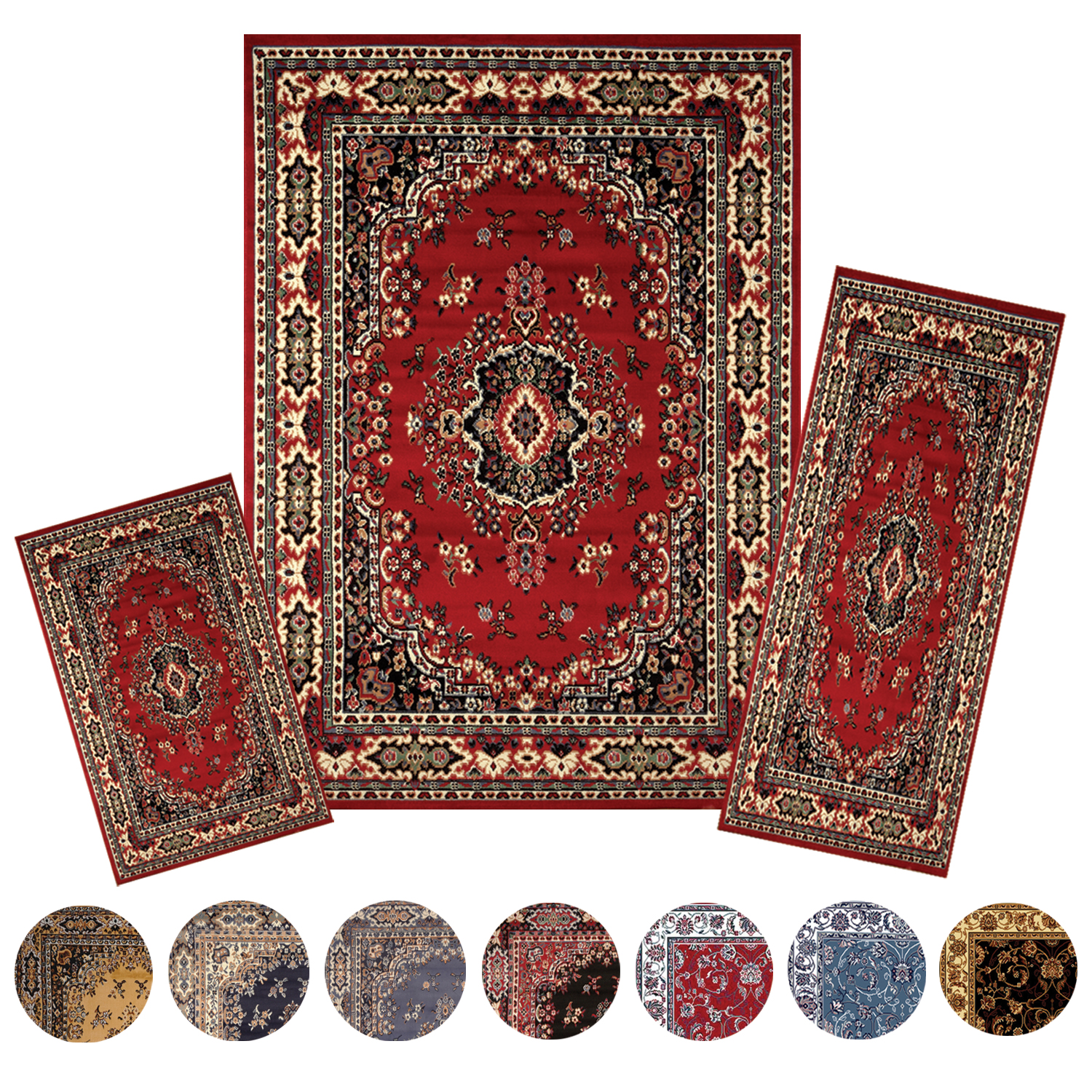 traditional medallion persian 3 pcs area rug oriental border