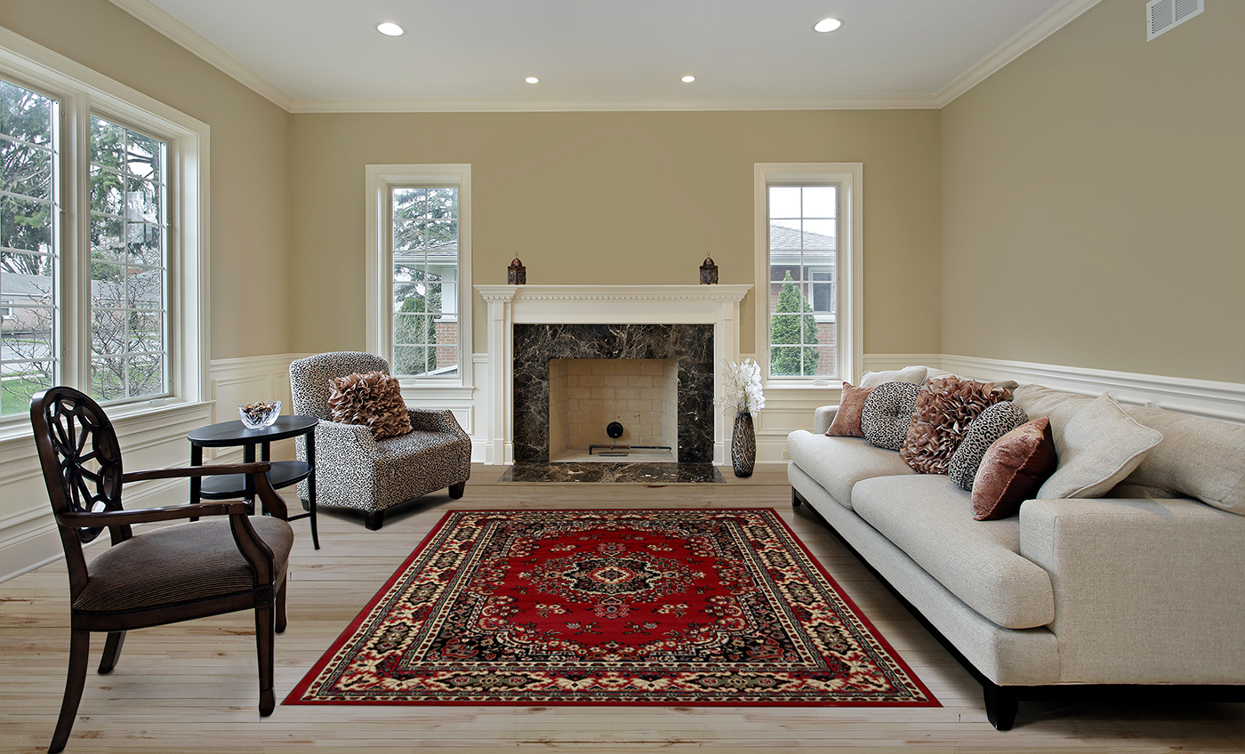 Large traditional 9x12 oriental area rug persian style carpet actual 92x125