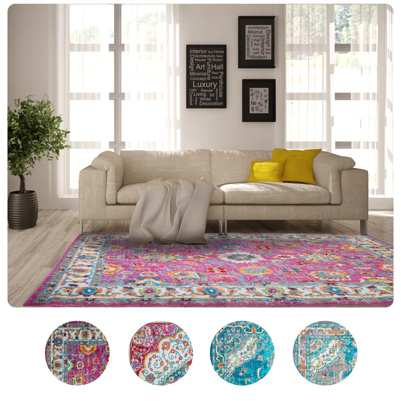 Transitional oriental modern area rugs multi color bordered vines floral carpet