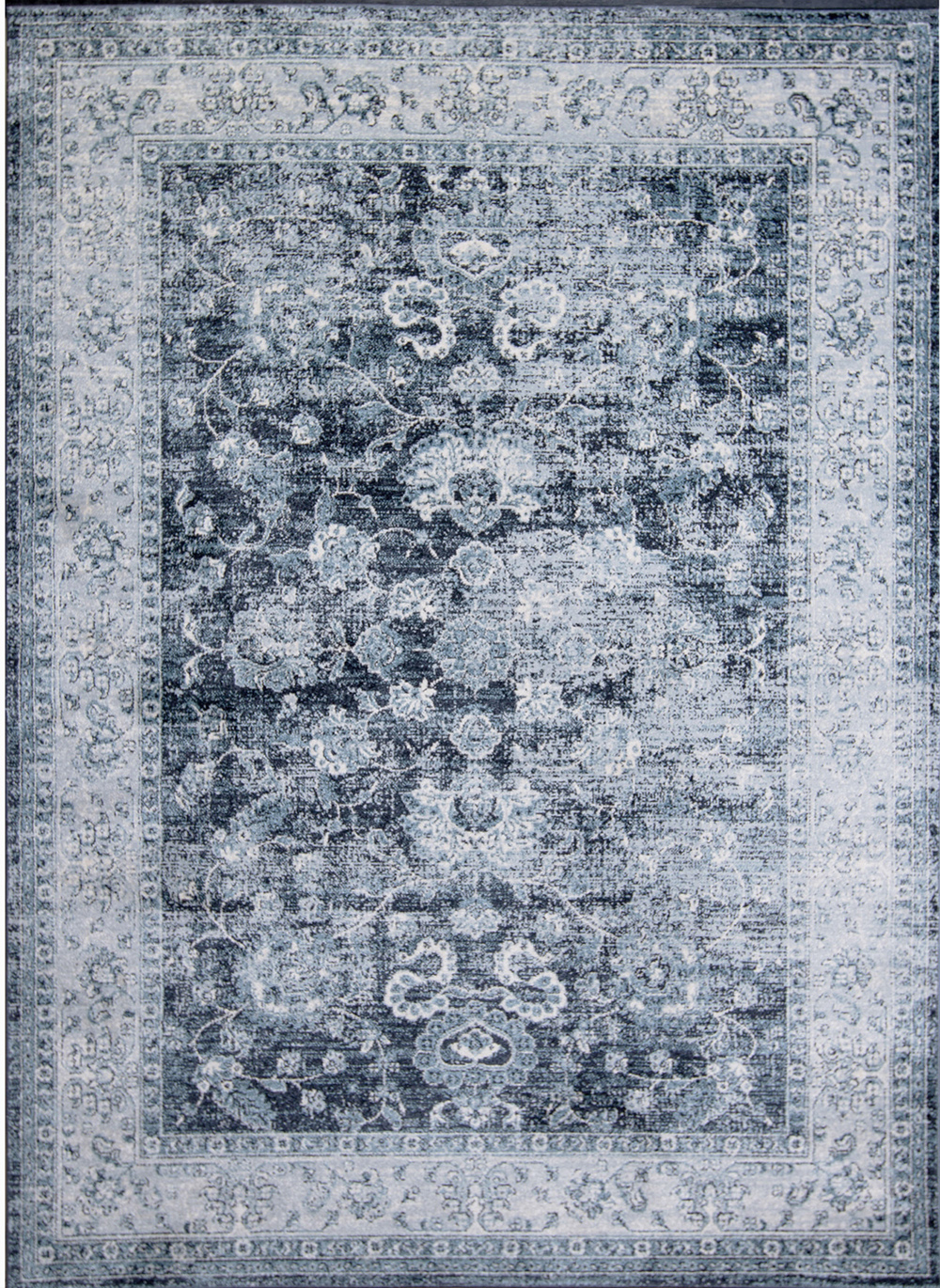 Rugs Navy Blue Traditional Washed Area Rug Distressed