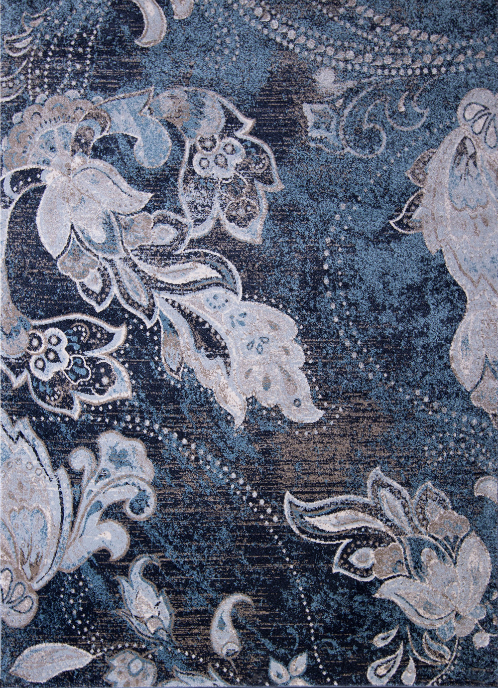 Navy Blue Gray Transitional Area Rug All Over Floral Vines