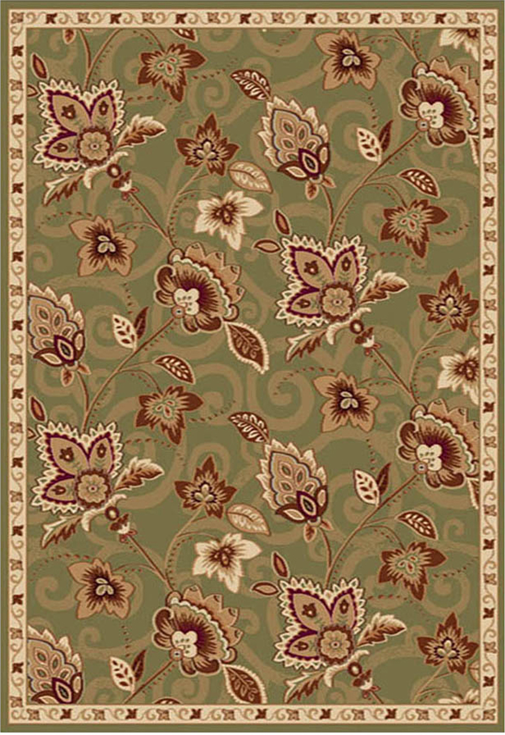 Picture of: Green Bordered Transitional Area Rug 5×5 Floral Carpet Actual 5 2 Round Rug Ebay