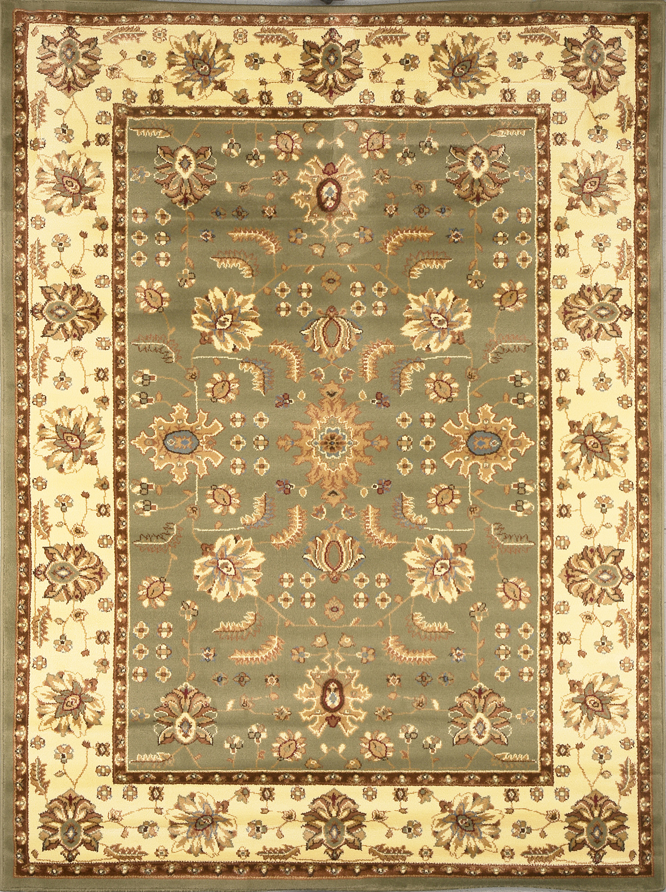 Green Ivory Traditional Persian Bordered Area Rug Oriental