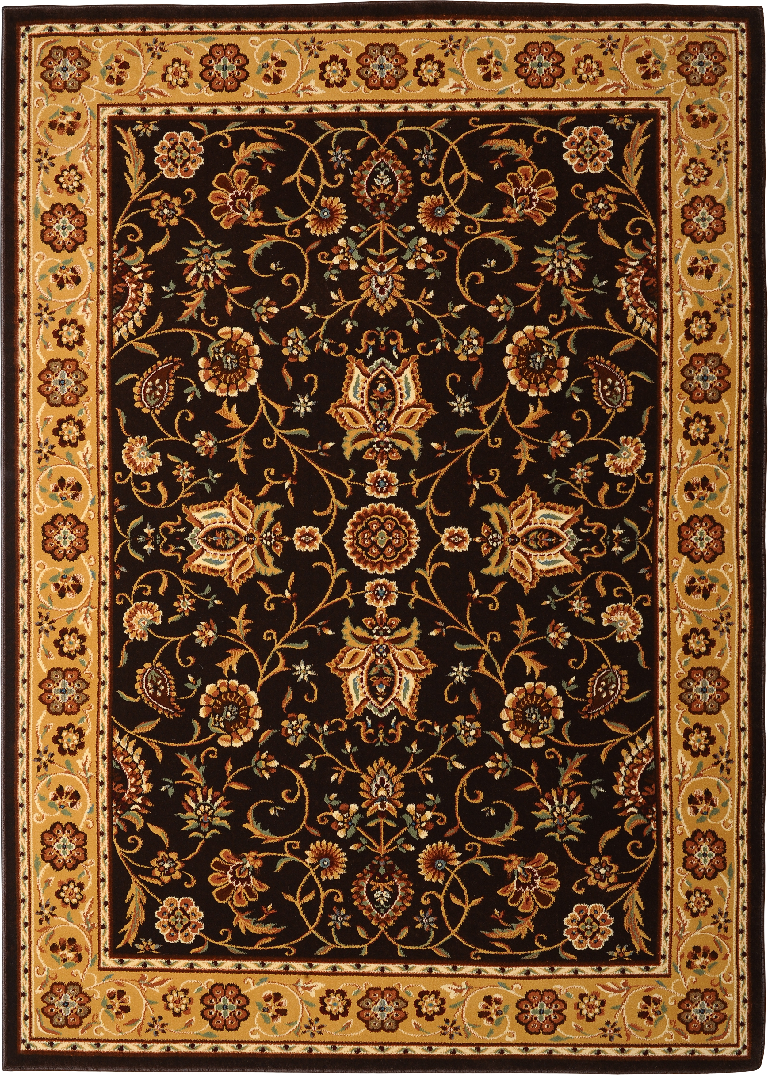 Details About Brown Gold Traditional Persien Bordered Area Rug Oriental All Over Carpet
