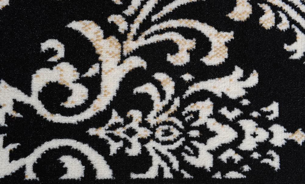 Black Damask Oriental Area Rug 5x8 Scrolls Persian Carpet