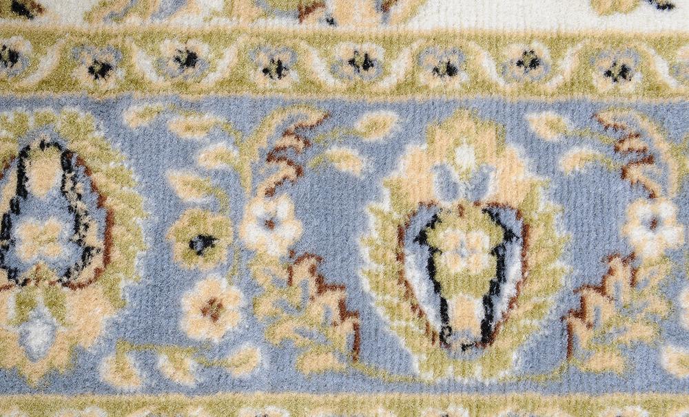 Ivory Oriental Blue Area Rug 8x11 Persian Border Carpet