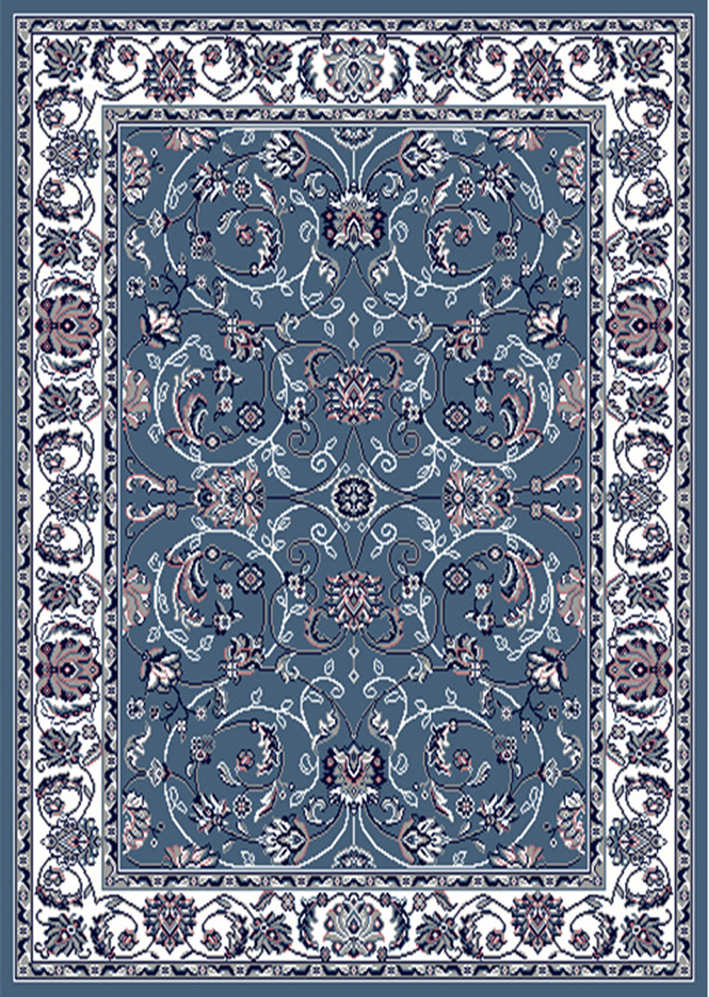 Blue Bordered Modern Area Rug Floral Vines Carpet Actual