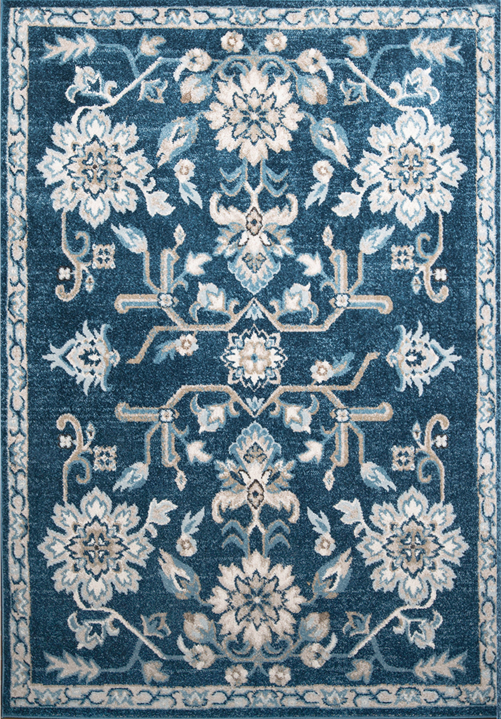 Transitional Navy Blue 2x3 Area Rug Floral Oriental Carpet
