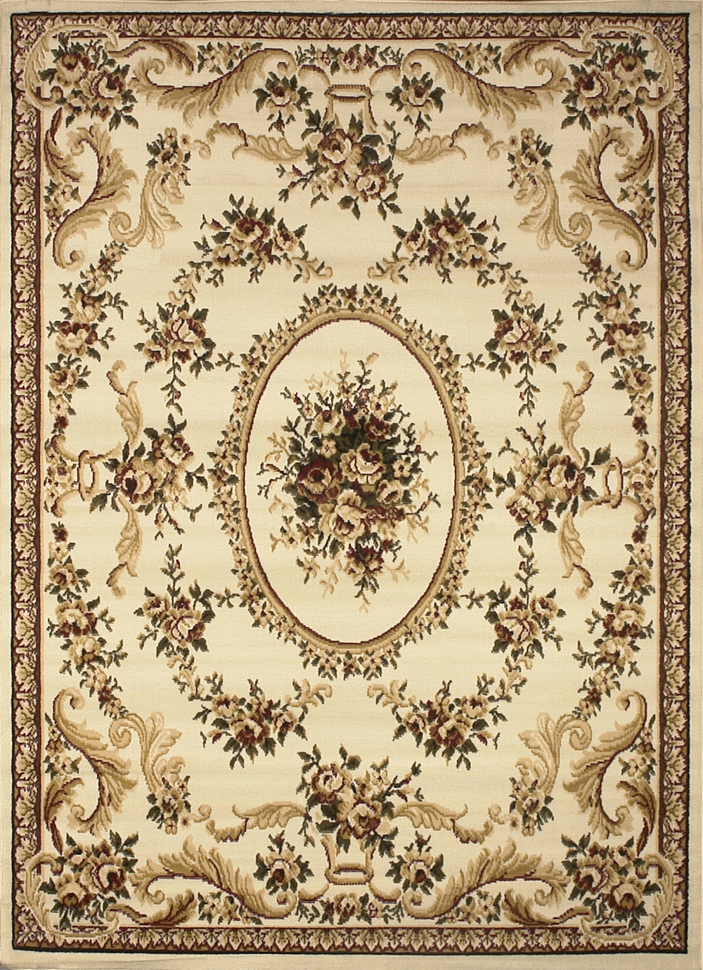 Ivory Floral French Aubusson Area Rug Scrolls Vines
