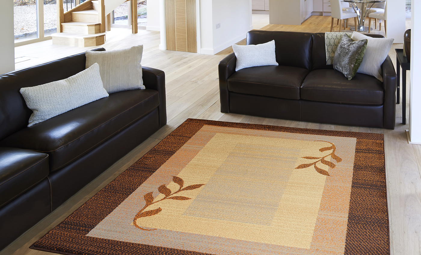 Brown Blue Striped Bordered Casual Area Rug Modern