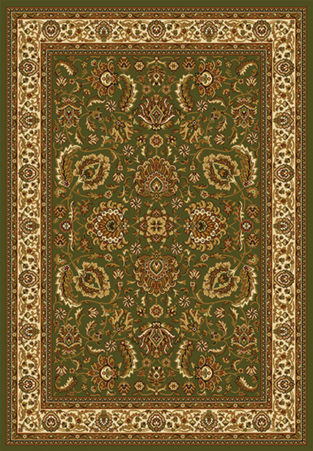 Green Ivory Oriental Area Rug Persian Border Floral Leaves