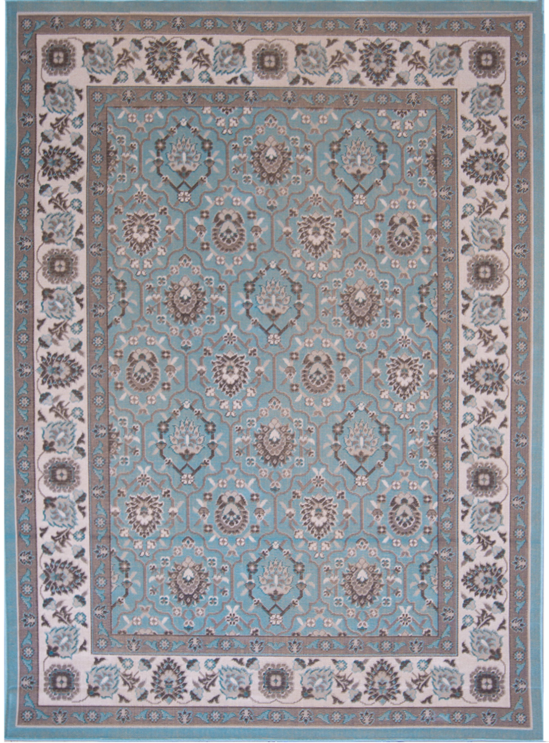 Aqua Blue Traditional 5x7 Area Rug Oriental Bordered