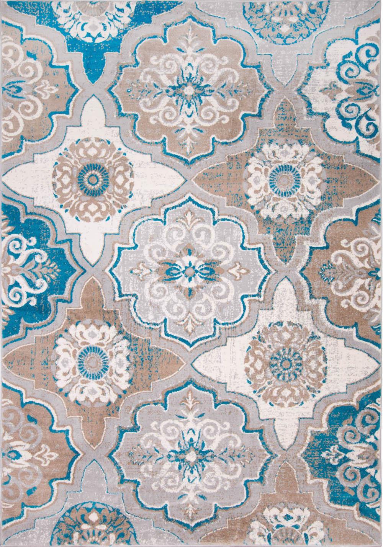 Transitional Taupe Blue Modern 8x10 Area Rug Floral Carpet