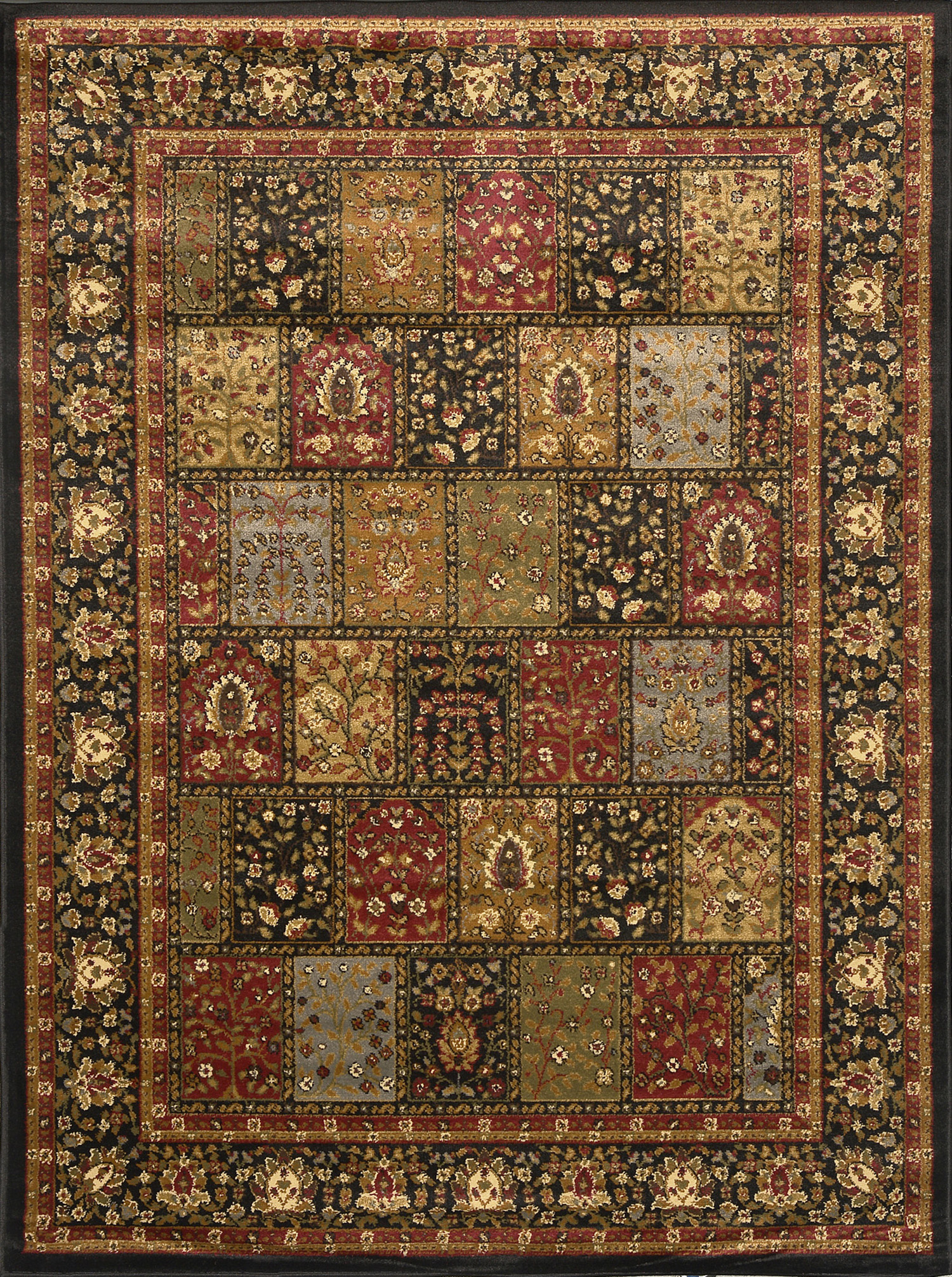 Traditional Burgundy Black Beige Floral Area Rug Persian
