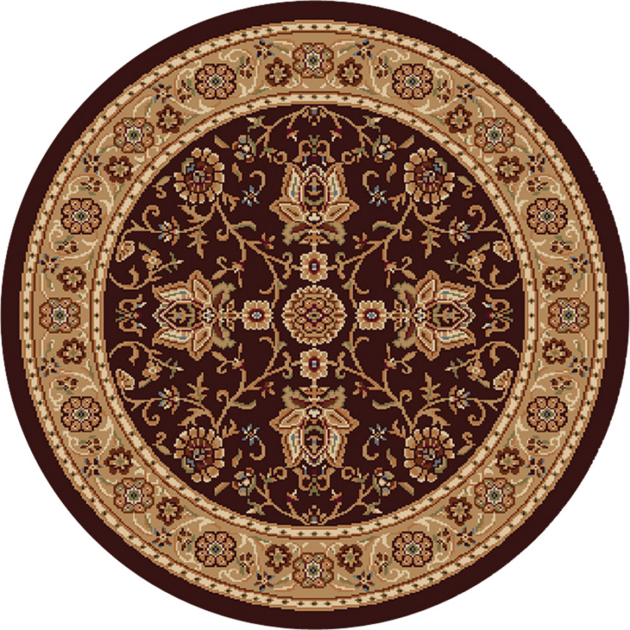 Brown Gold Persian Area Rug 3x3 Round Oriental 3207