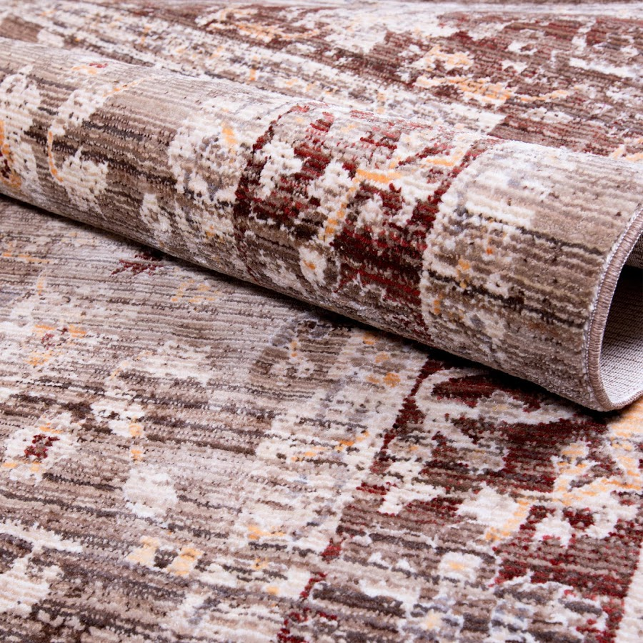 7x10 Rug: Brown Distressed Bordered 7x10 Area Rug Traditional