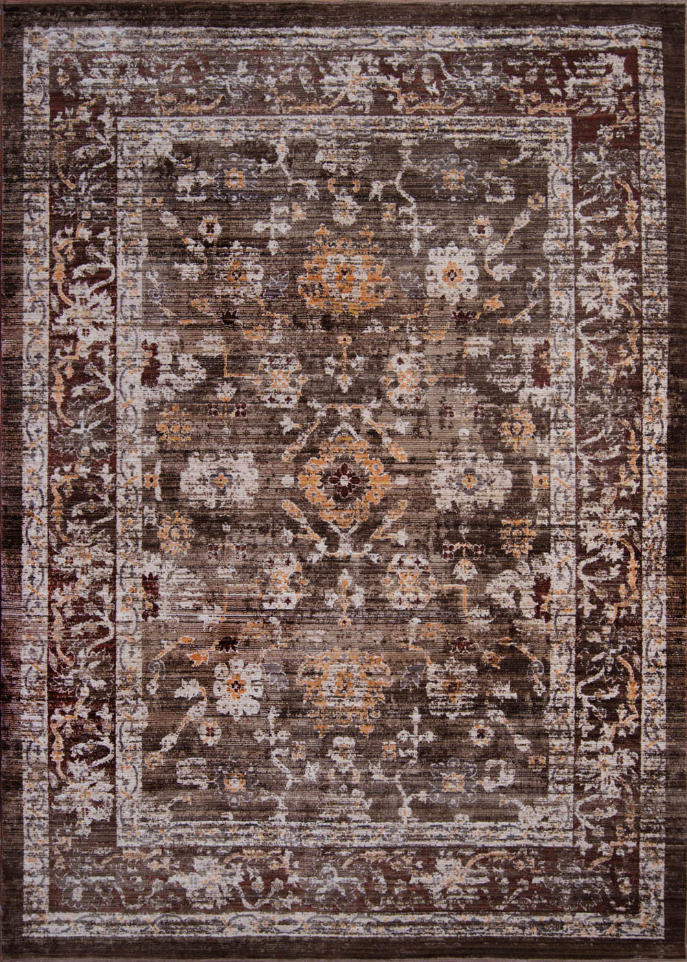 Brown Distressed Bordered 7x10 Area Rug Traditional