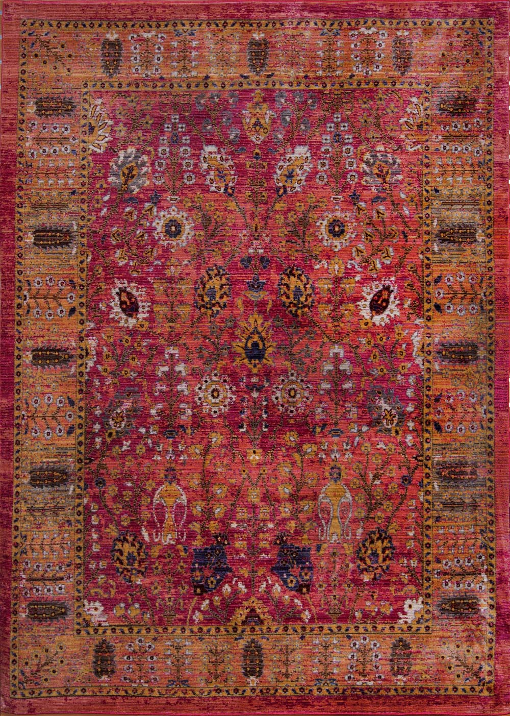 Red Distressed Faded Bordered Area Rug Traditional Persian