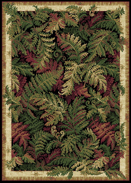 Leaves Black Oriental Area Rug 8x11 Persian Carpet 033