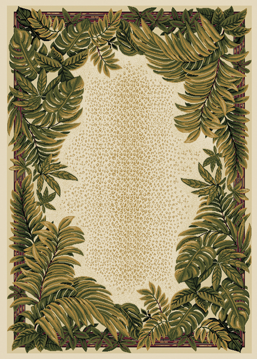Ivory Cream Green Bordered Tropical Area Rug Ferns Leaves