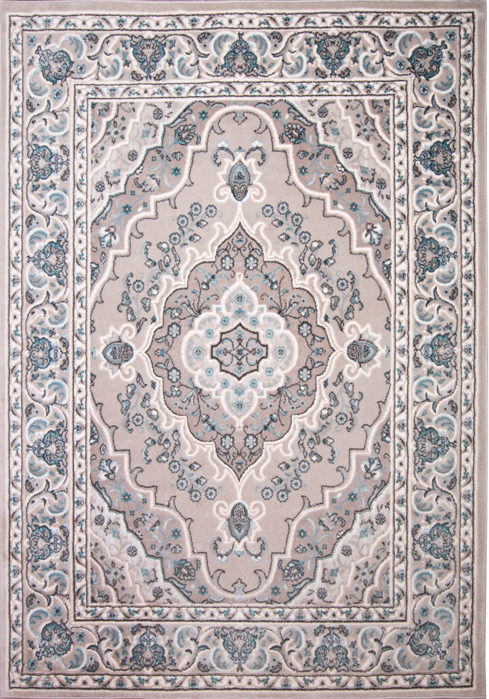 Contemporary Beige 8x10 Scrolls Bordered Area Rug Actual
