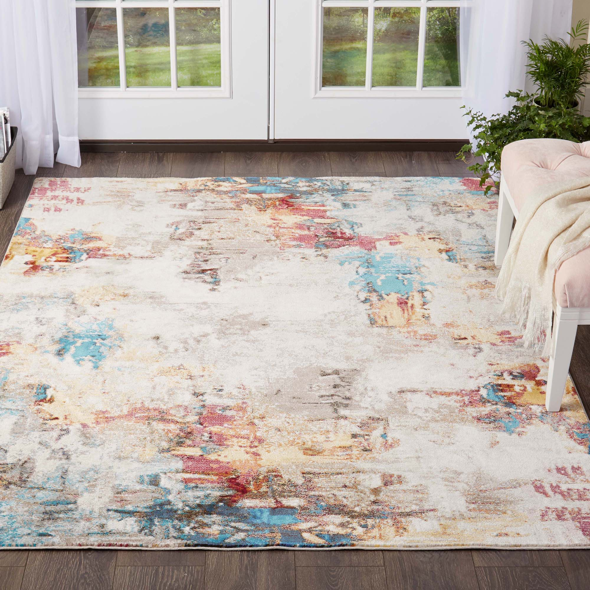 Nicole Miller Designer Area Rug Multi Color Contemporary Abstract