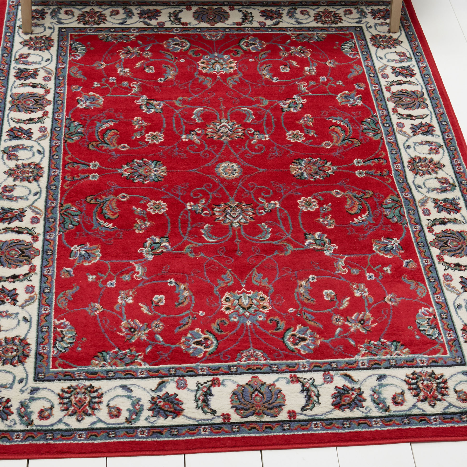 Red Modern Area Rug Bordered Floral Vines Carpet Actual
