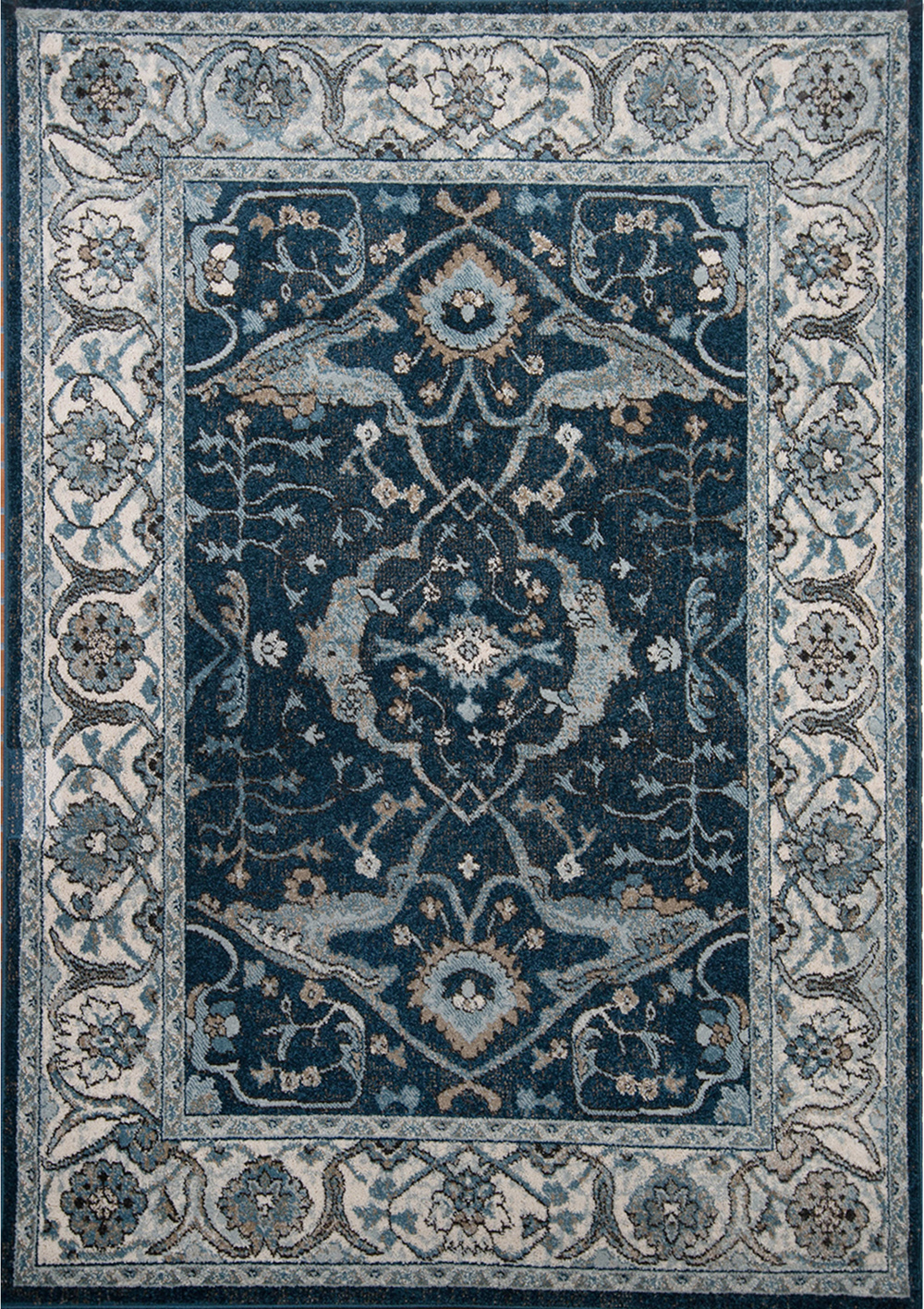 Navy Blue Ivory Traditional Area Rug Bordered Oriental