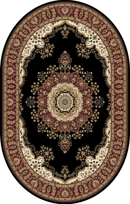 Free S Amp H Black Persian Area Rug 7 X 10 Oval Oriental 29