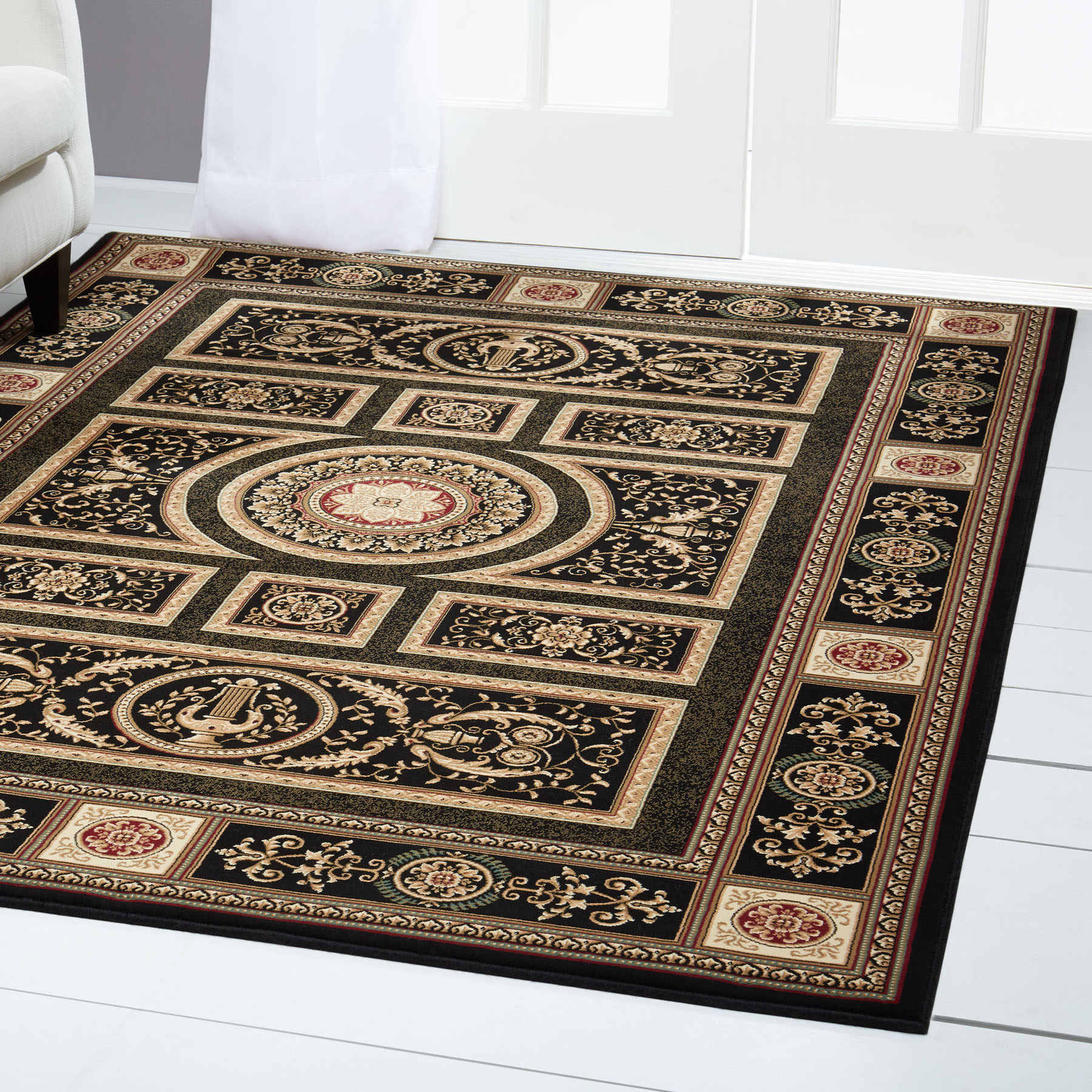 Black Bordered Area Rug Traditional Persian Oriental