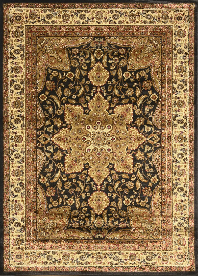 Oriental Black Brown Ivory Red Persian Medallion Area Rug