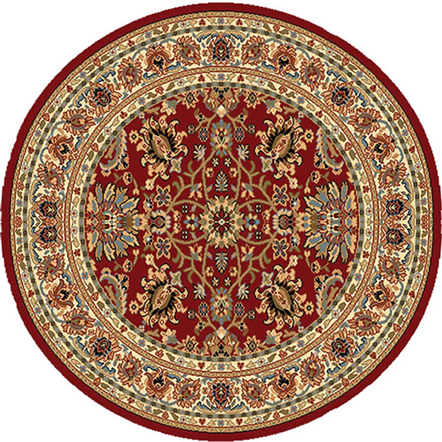Red Oriental Round Area Rug 5x5 Bordered Floral Carpet