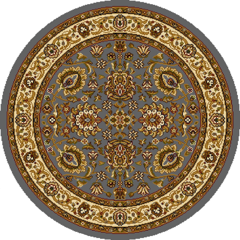 Blue Oriental Persian Round Area Rug 3x3 Bordered Carpet