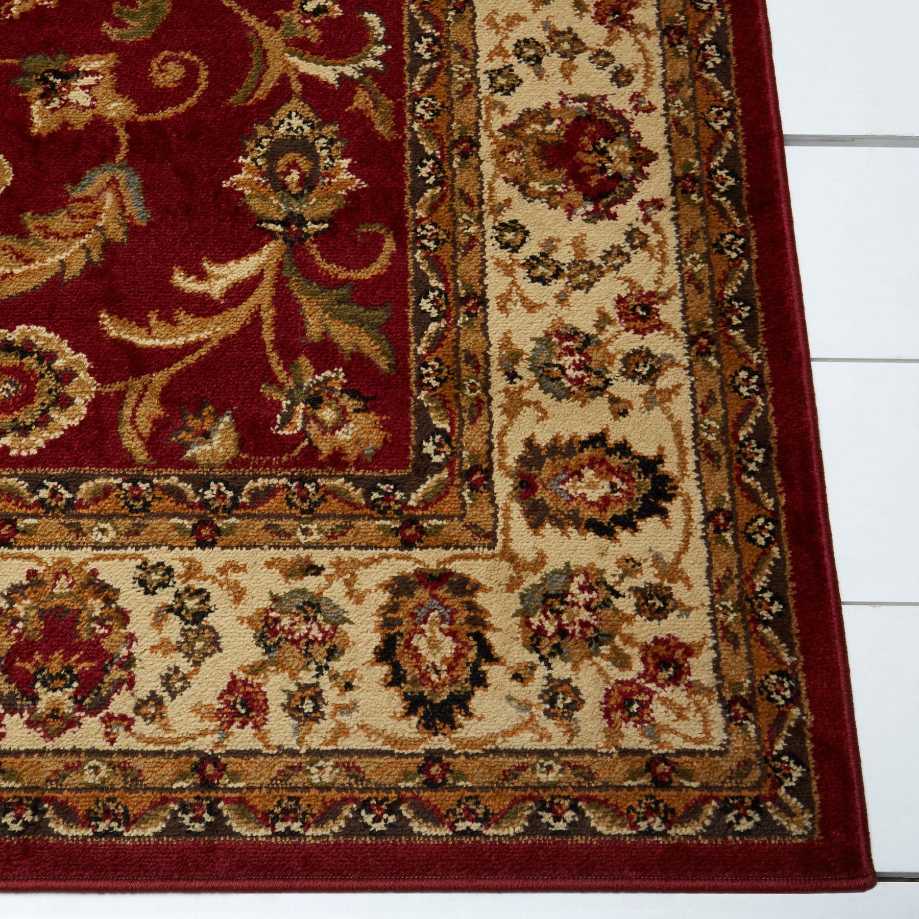Red Burgundy Ivory Bordered Traditional Area Rug Persien Oriental Floral Carpet Ebay
