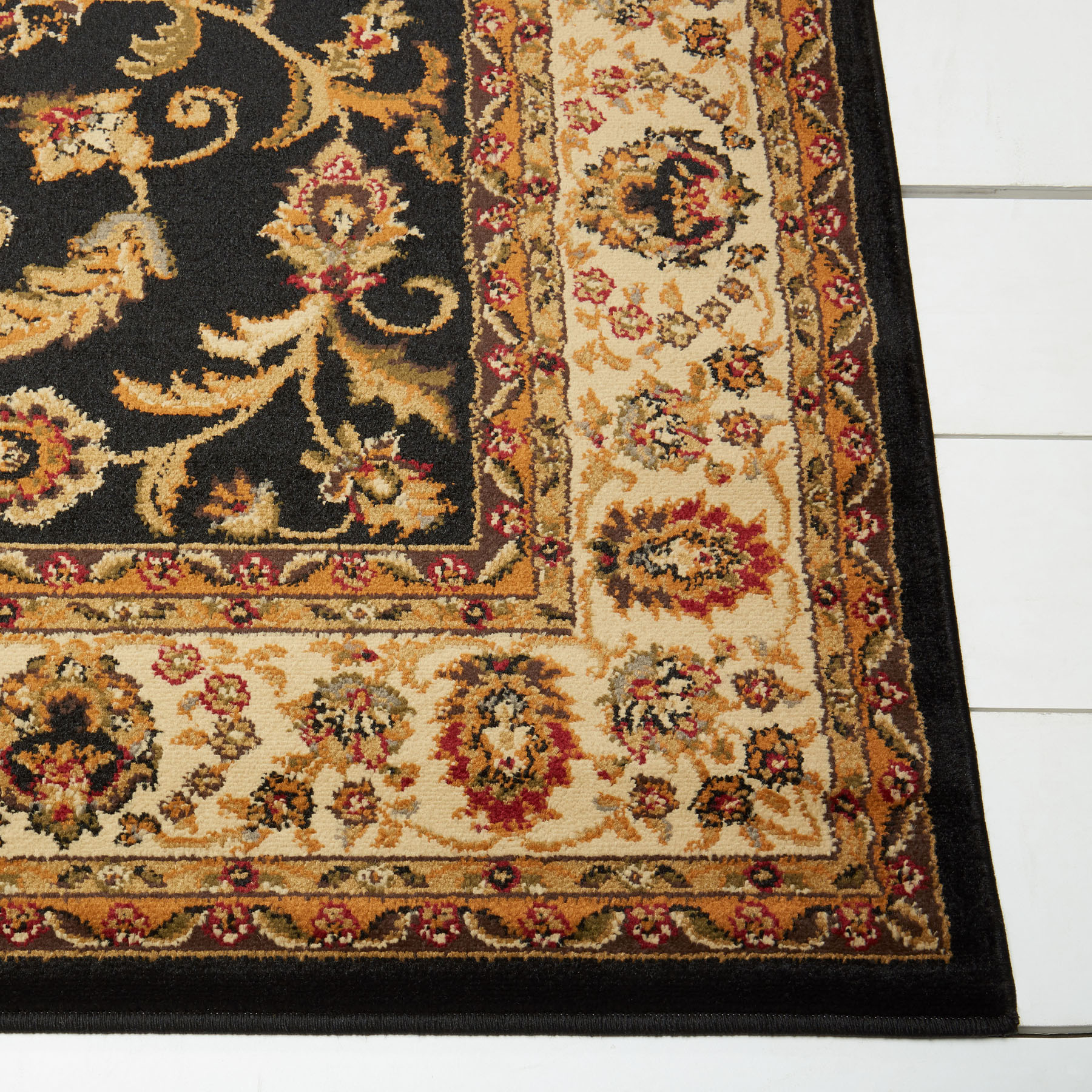 Persien Black Cream Area Rug 2x7 Runner Oriental 08