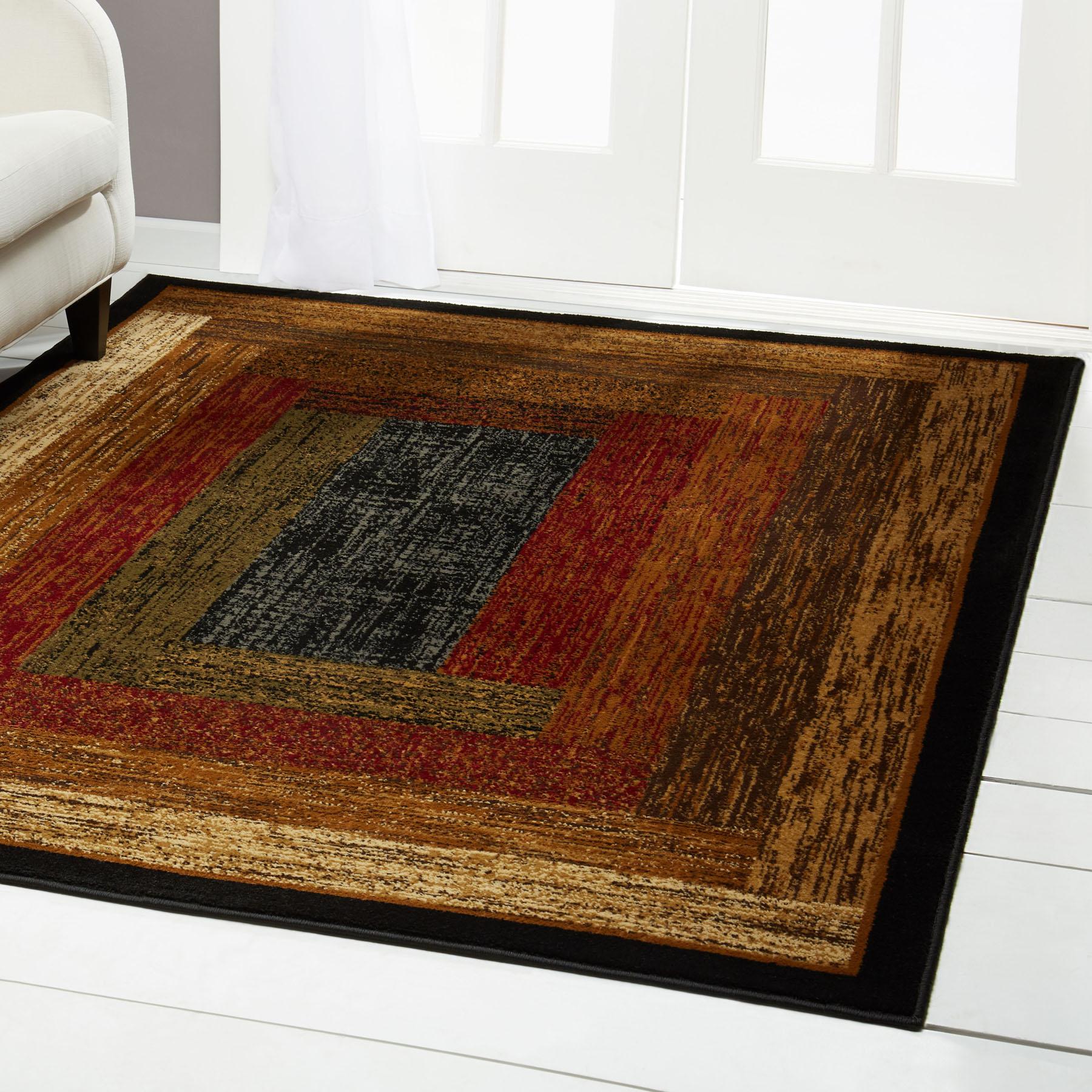 Red Green Beige Tan Bordered Modern Geometric Area Rug Contemporary Carpet Ebay