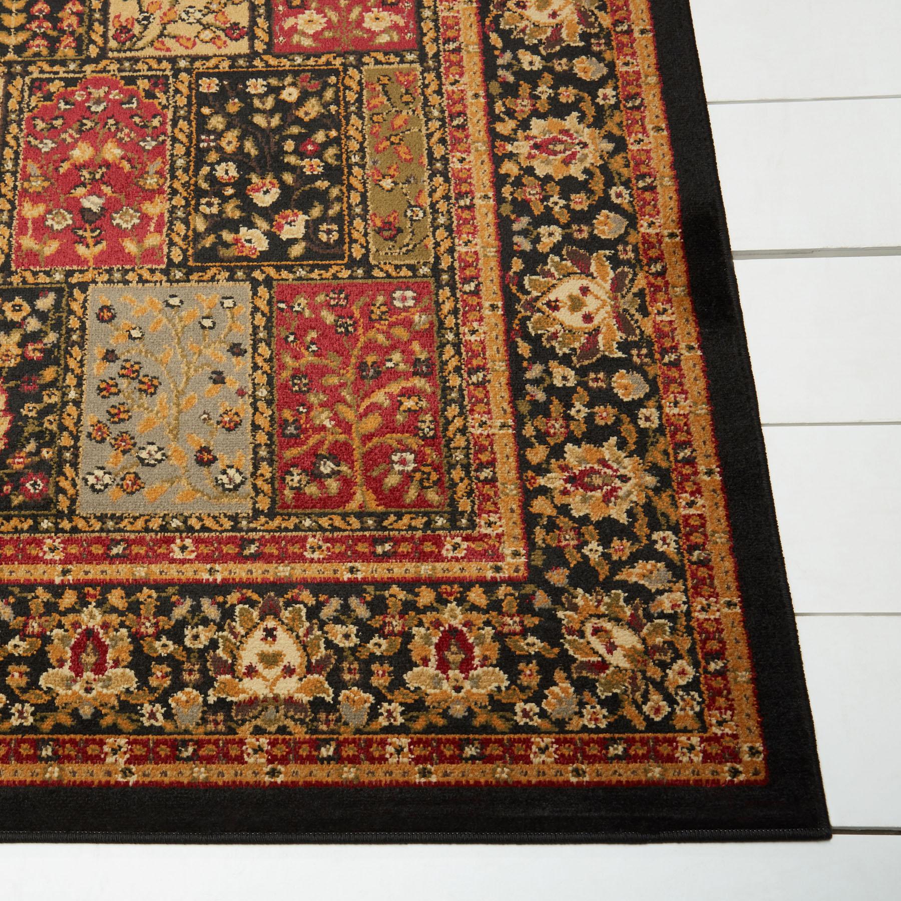"ACTUAL 3/' 6/"" x 5/' 2/"" BLACK PANEL ORIENTAL AREA RUG 4 X 6 PERSIAN CARPET 200B"